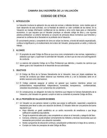CODIGO DE ETICA - Cámara Salvadoreña de la Valuación