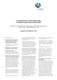 Til aksjonærene i Norsk Hydro ASA Innkalling til generalforsamling ...