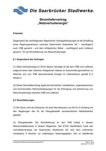 Vertrag Netzverluste - Stadtwerke Saarbrücken