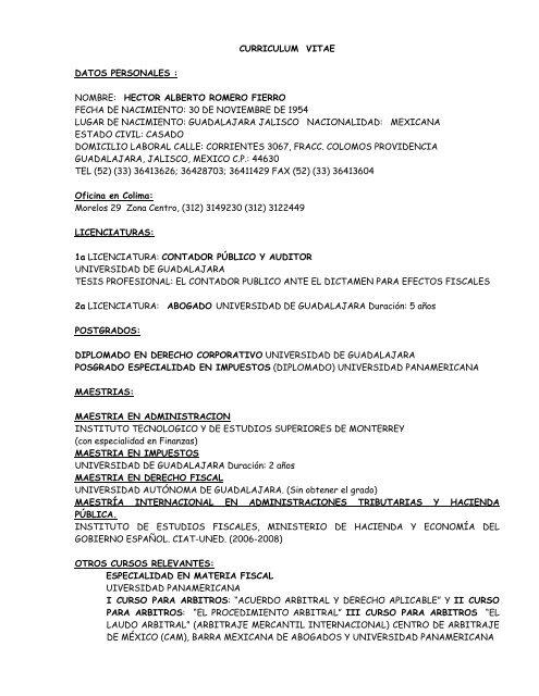 Curriculum Vitae Ruiz Moreno Y Asociados