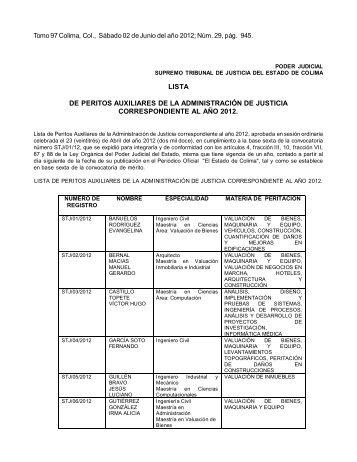 LISTA DE PERITOS AUXILIARES DE LA ADMINISTRACIÓN DE ...