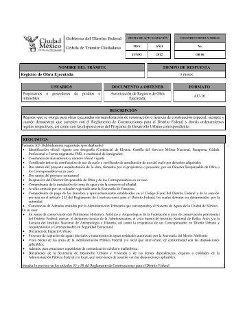 Registro de Obra Ejecutada - Seduvi - Gobierno del Distrito Federal