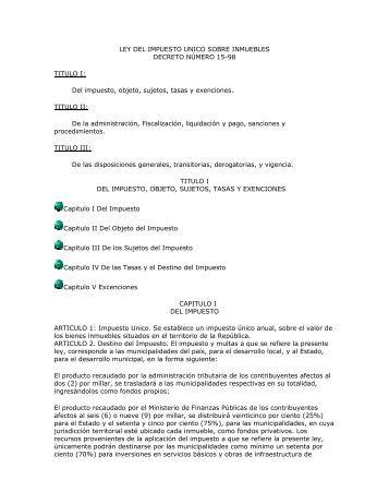 ley del impuesto unico sobre inmuebles - Portal Gobiernos Locales