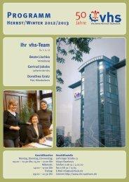Programm Herbst/Winter 2012/2013 - Volkshochschule Saarlouis