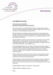 FOR IMMEDIATE RELEASE From Lloyds to London Met: New Dean ...