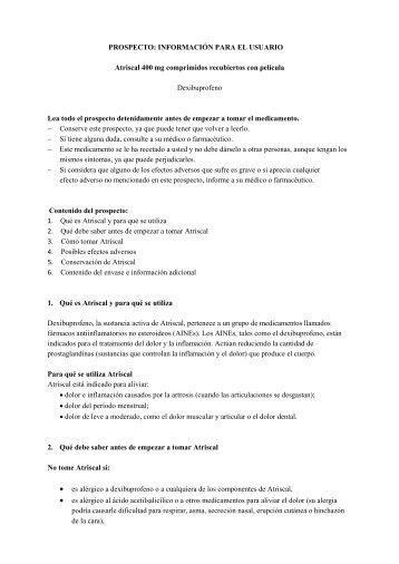 Prospecto Atriscal 400 mg - Lacer