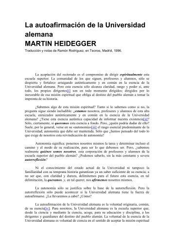Heidegger- La autoafirmación de la Universidad alemana