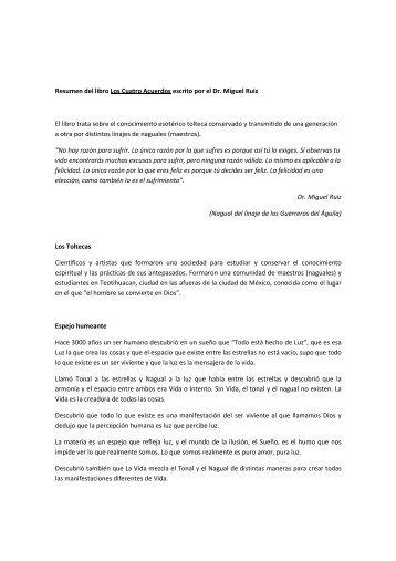 Resumen del libro: Los Cuatro Acuerdos escrito por el Dr Riuz (106 ...