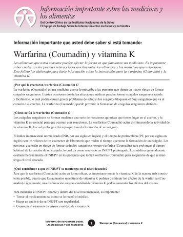 Warfarina (Coumadin) y vitamina K
