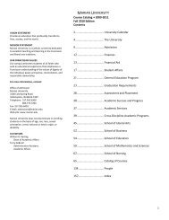 2009-11 Marian University Course Catalog, fall 2010 edition