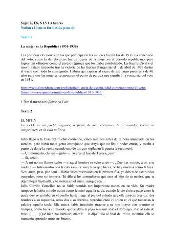 Sujet Bac LV1 La mujer en la Republica RM