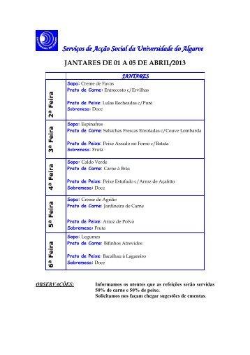 Ementa jantares abril 2013 - Universidade do Algarve