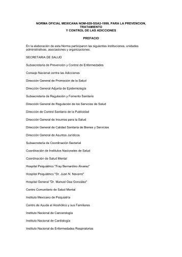 NORMA OFICIAL MEXICANA NOM-028-SSA2-1999, PARA LA ...