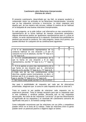 Cuestionario sobre Relaciones Interpersonales (Ventana de Johari ...