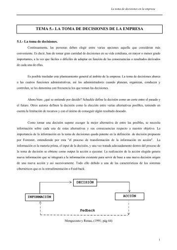 TEMA 5.- LA TOMA DE DECISIONES DE LA EMPRESA