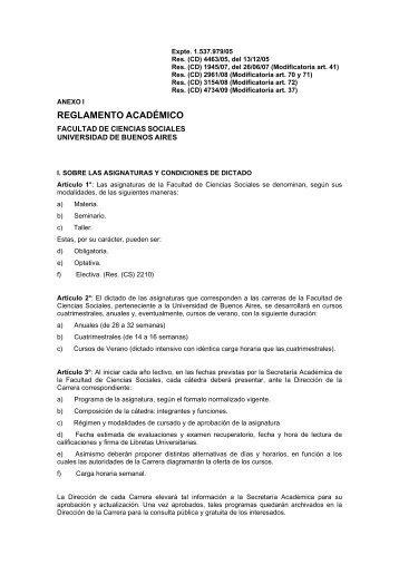 reglamento académico - carrera de sociología - UBA - Universidad ...