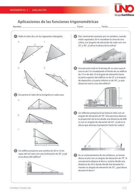 Aplicaciones De Las Funciones Trigonométricas Sistemauno