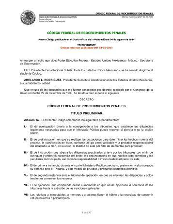 Código Federal de Procedimientos Penales - Cámara de Diputados