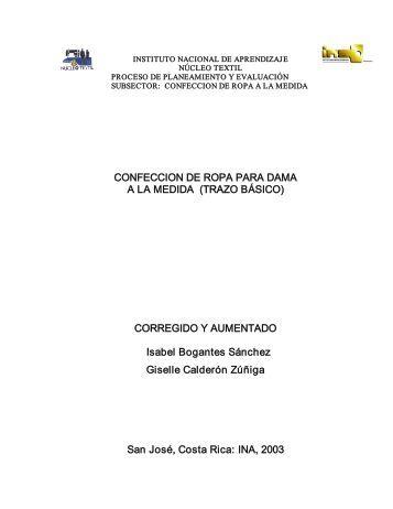 CONFECCION DE ROPA PARA DAMA A LA MEDIDA (TRAZO ... - INA