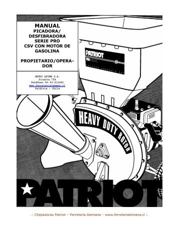 Manual usuario Chipeadora Patriot .pdf - Ferreteria Alemana