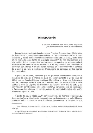 Archivo Municipal de Deba. (1181-1520). I