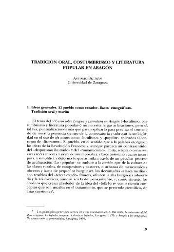 3. Tradición oral, costumbrismo y literatura popular en Aragón, por ...