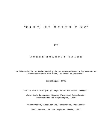 PAFI, EL VIRUS Y YO - Jorge Holguin Uribe