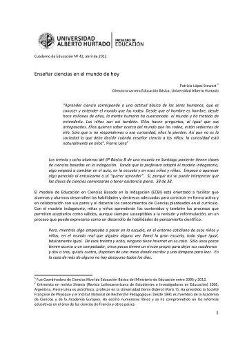 Enseñar ciencias en el mundo de hoy - Universidad Alberto Hurtado