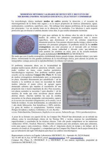 Compact Dry Plate y otros medios de cultivo cromogénicos ...
