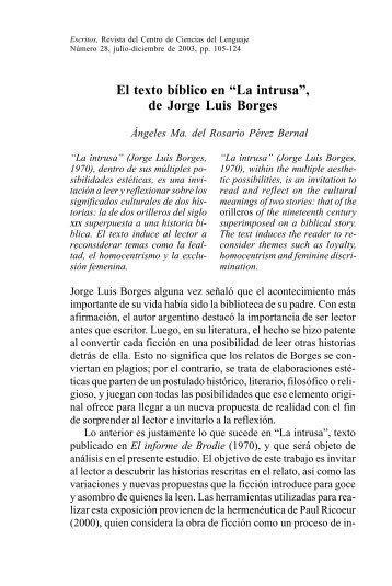 """El texto bíblico en """"La intrusa"""", de Jorge Luis Borges - Benemérita ..."""