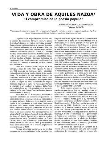 vida y obra de aquiles nazoa - Saber ULA - Universidad de Los Andes