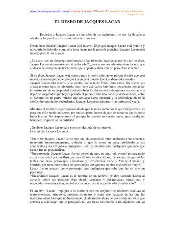 EL DESEO DE JACQUES LACAN - Encuentro Psicoanalitico