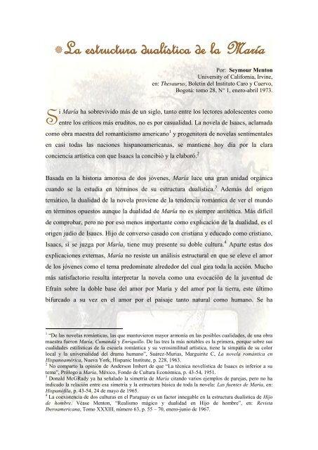 La Estructura Dualistica De La María Universidad Del Valle