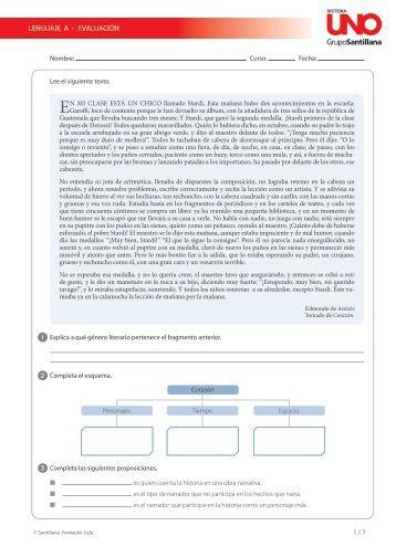 LENGUAJE A - EVALUACIÓN - sistemauno.com.co