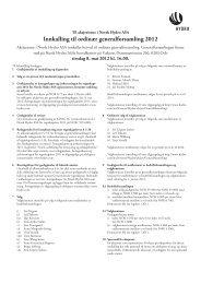 Innkalling til ordinær generalforsamling 2012