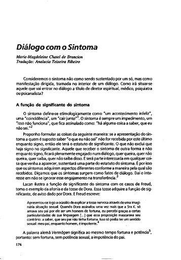 Diálogo com o Sintoma - Escola Letra Freudiana