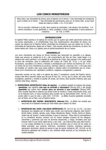 LOS CINCO MINISTERIOS - Doctrina Basica Iglesia Monte Gerizim