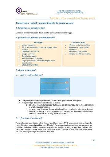 Cateterismo vesical y mantenimiento de sonda vesical - Sociedad ...