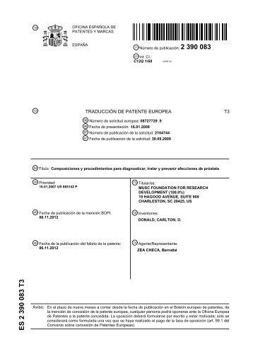 Es 2 170 713 b2 inicio for Oficina de patentes y marcas sevilla