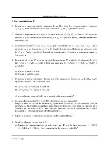 I- Representaciones en R3 1. Determine la matriz de rotación ...