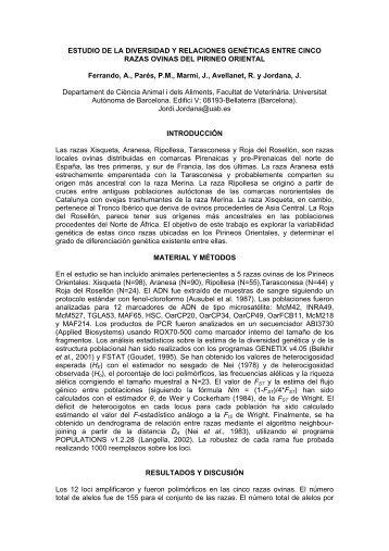 Estudio de la diversidad y relaciones genéticas entre cinco ... - acteon