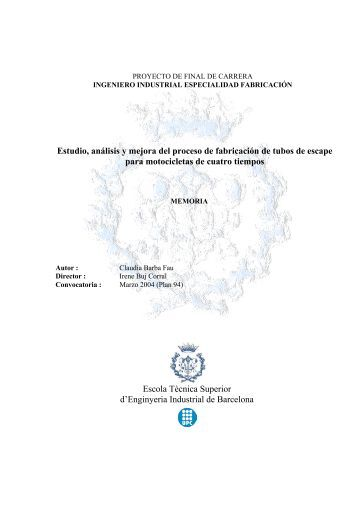 Estudio, análisis y mejora del proceso de fabricación ... - UPCommons