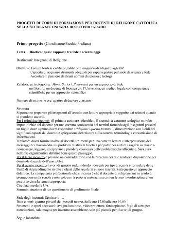 Progetti di corsi di formazione per docenti di - Chiesa Cattolica Italiana