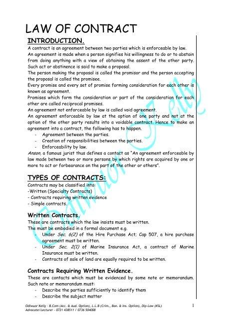 Law Of Contract For Acbmpdf Oakadvocates