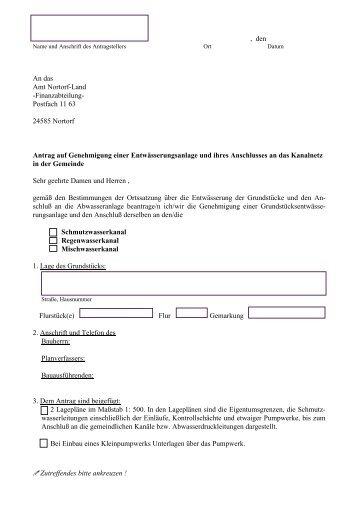 Anschlussantrag Abwasser - Amt Nortorfer Land