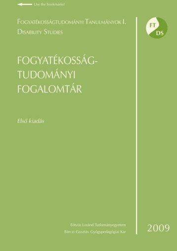 FOGYATÉKOSSÁG- TUDOMÁNYI FOGALOMTÁR