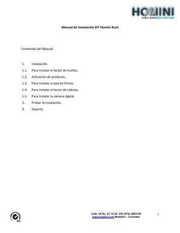 1 Manual de Instalación KIT Homini Runt Contenido del Manual 1 ...