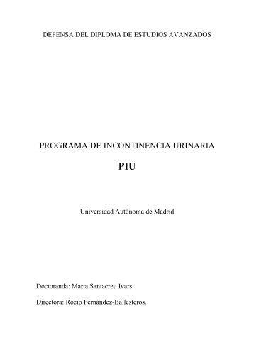 PROGRAMA DE INCONTINENCIA URINARIA - Plusesmas.com