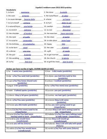 Español 3-midterm exam 2012-2013-práctica Vocabulario 1. to burn ...