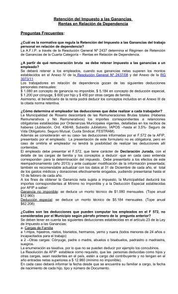 Retención del Impuesto a las Ganancias – Rentas en Relación de ...